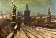 Stanislav Feikl Painting Winter on the Charles bridge oil