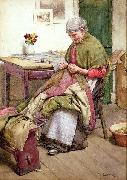 Walter Langley.RI The Old Quilt oil on canvas