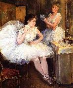 Willard Leroy Metcalf The Ballet Dancers aka The Dressing Room oil on canvas