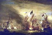 Willem Van de Velde The Younger Royal James  at the Battle of Solebay oil on canvas