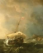 Willem Van de Velde The Younger An English Ship in a Gale Trying to Claw off a Lee Shore oil on canvas