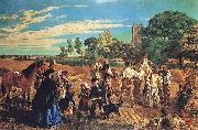 William Maw Egley A Harvest Scene in Norfolk oil on canvas
