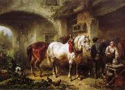 Wouterus Verschuur Horses and people in a courtyard painting