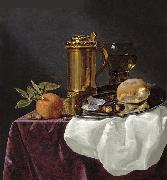 simon luttichuys Tankard with Oysters, Bread and an Orange resting on a Draped Ledge china oil painting artist