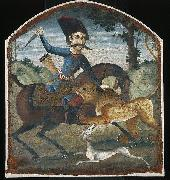 unknow artist Hunter on Horseback Attacked by a Lion painting