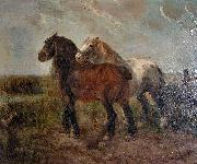 unknow artist Brabant draught horses oil painting reproduction