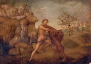 unknow artist Hercules and the Nemean Lion, oil on panel painting attributed to Jacopo Torni painting