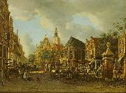 unknow artist The Groenmarkt as seen towards the Westeinde oil painting reproduction