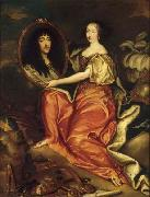 unknow artist Henriette d'Angleterre as Minerva holding a painting of her husband the Duke of Orleans painting
