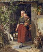 Adolph Heinrich Richter A young wine grower and her children oil