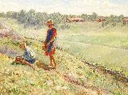 Alf Wallander Berry Picking Children a Summer Day oil painting reproduction
