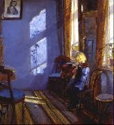 Anna Ancher Sunlight in the blue room oil painting reproduction