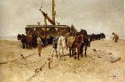 Anton mauve Fishing boat on the beach painting