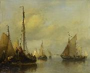 Antonie Waldorp Fishing Boats on Calm Water painting
