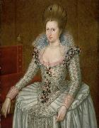 Attributed to John de Critz the Elder Portrait of Anne of Denmark oil on canvas