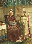 August Allebe Old woman by a hearth painting