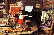 Aurelio de Figueiredo Girl at the piano oil painting reproduction