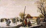 Barend Avercamp Landscape with Frozen River oil painting reproduction