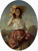 Camille Roqueplan Girl with flowers oil on canvas
