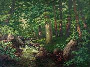 Charles Muller Woodland Stream oil on canvas
