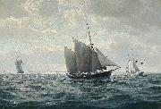 Christian-Bernard Rode Marine med sejlskibe oil on canvas