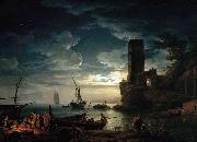 Claude Joseph Vernet Mediterranean Coast Scene with Fishermen and Boats oil on canvas