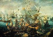 Cornelis Claesz. van Wieringen The explosion of the Spanish flagship during the Battle of Gibraltar, 25 April 1607 oil on canvas