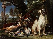 David de Coninck The hunter's trophy with a dog and an owl oil on canvas