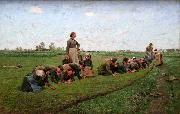 E.Claus Flaxweeding in Flanders oil on canvas