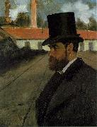 Edgar Degas Henri Rouart in front of his Factory painting