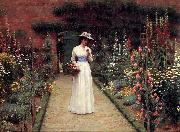 Edmund Blair Leighton Lady in a Garden oil painting reproduction