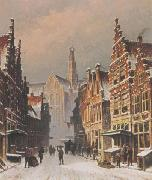 Eduard Alexander Hilverdink A snowy view of the Smedestraat, Haarlem oil on canvas
