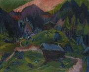 Ernst Ludwig Kirchner Kummeralp Mountain and Two Sheds oil painting reproduction