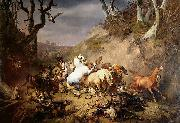 Eugene Verboeckhoven Hungry Wolves Attacking a Group of Horsemen painting