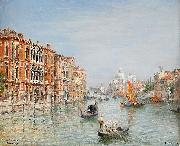 Frans Wilhelm Odelmark Canale Grande Venedig oil on canvas
