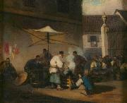 George Chinnery Street Scene, Macao, with Pigs oil on canvas
