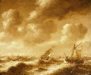 Hendrick van Anthonissen Shipping in a Gale oil on canvas