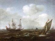 Hendrik Cornelisz. Vroom A Dutch Ship and Fishing Boat in a Fresh Breeze oil on canvas
