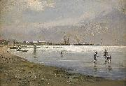 Hugo Salmson Trelleborgs hamn oil painting reproduction