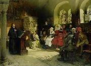 Hugo Vogel Martin Luther preaching at the Wartburg oil on canvas