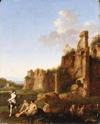 Jan van Haensbergen Landscape with bathing women oil on canvas