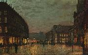 John Atkinson Grimshaw Boar Lane, Leeds, by lamplight. Signed and dated 'Atkinson Grimshaw 1881+' (lower right) signed and inscribed with title on reverse oil painting