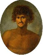 John Webber Head and shoulders portrait of a young Tahitian male painting