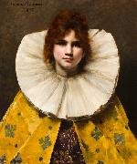 Juana Romani A portrait of a young girl with a ruffled collar oil