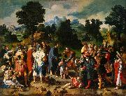 Lucas van Leyden Healing of blind man of Jericho painting