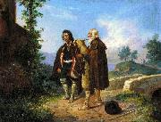 Ludwig Vogel Two peasants, one with the bagpipes by a bridge oil on canvas