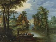 Marten Rijckaert River landscape with religious theme Flight into Egypt oil