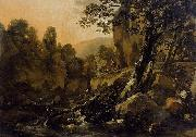 Nicolaes Pietersz. Berchem Herdsmen and Herds at a Waterfall painting