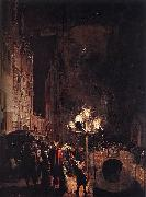 POEL, Egbert van der Celebration by Torchlight on the Oude Delft oil painting reproduction