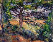 Paul Cezanne Grobe Kiefer mit roten Feldern oil painting reproduction